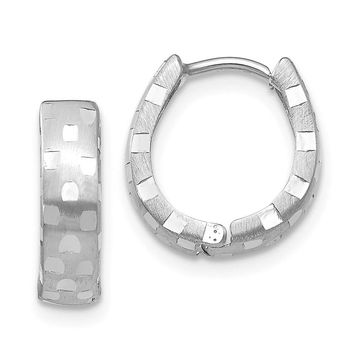 14k White Gold 4 mm Diamond Cut Patterned Hinged Hoop Earrings