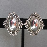 Beauty!  Vintage Scroll Frame Triangles Mexican Sterling Silver Earrings