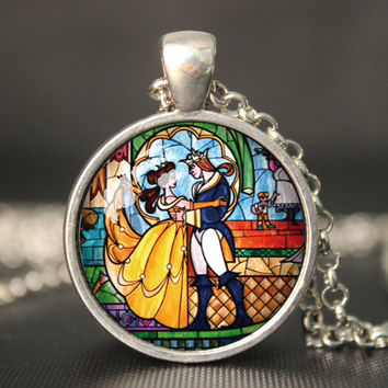 beauty and the beast pendent necklace beauty and the beast vintage pendent gift girlfriend boyfriend gift