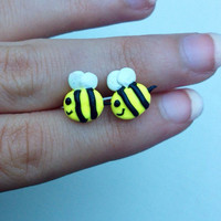 Buzzing bee polymer clay studs