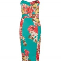 Teal Floral Print Paneled Bodycon Dress | Dresses | Desire
