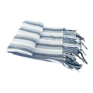 Ben and Jonah Knitted Herringbone Fringed Throw Blanket (Blue Stripe)