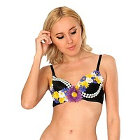 Purple and Black Daisies Rave Bra