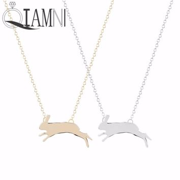 QIAMNI Unique Lovely Bunny Running Rabbit Animal Necklace Pendant Christmas Jewelry Gift for Women Girls Statement Collar Charm