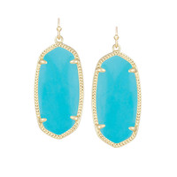 Kendra Scott Elle Turquoise Magnesite Earrings 14K Gold Plated