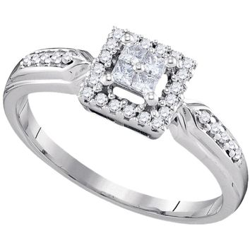 10kt White Gold Womens Princess Diamond Square Frame Cluster Ring 1/4 Cttw
