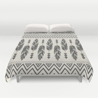 Tribal Feathers-Black & Cream Duvet Cover by Bohemian Gypsy Jane | Society6