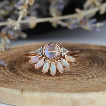 Art deco engagement ring women opal  Vintage moonstone Topaz rose gold  Unique  wedding  Bridal Jewelry birthstone Anniversary gift for her