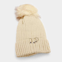 Women's Beige Soft Knit Fleece Triple Ring Detail Fur Pom Pom Beanie Cap Hat