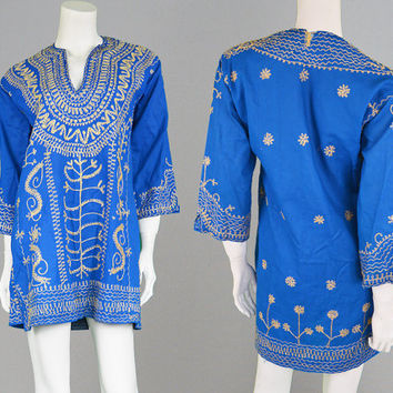 Vintage 60s Mini Dress Boho Mini Dress Hippie Dress Gold Embroidery Indian Cotton Blue Mini Dress Tunic Dress 1960s Mini Dress Gypsy Dress