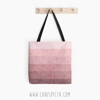 Millennial Dust Ombre Tote Bag Geometric Pink Pastel Pattern Vector Mauve Dusky Dusty Rose Lavender Lilac Purse Gift Idea Small Large Medium