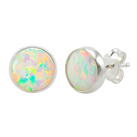 925 Sterling Silver Opal Earrings Iridescent Pearl Gemstone Studs 9mm