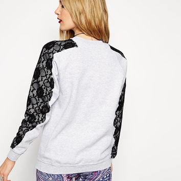 White Lace Shoulder Sweatshirt