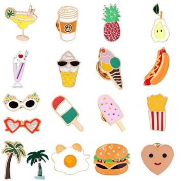 Trendy Cartoon Summer Enamel Pin Ice-Cream Juice Brooch Food Fruits Cups Heart Coconut Pineapple Jewelry Collar Denim Jacket Badge AT_94_13