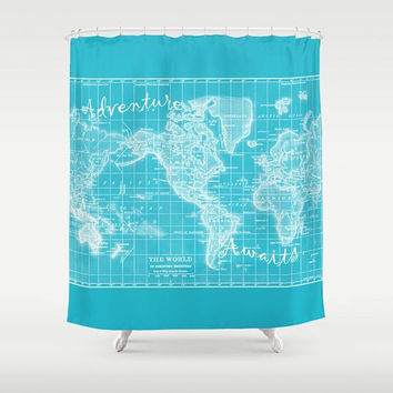 Turquoise World Map Shower Curtain - beautiful, colorful map - Home Decor - Bathroom - travel quote - Adventure Awaits, coastal bathroom,
