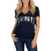 Dallas Cowboys PINK Bling V-Neck Tee | Short Sleeve | Tops | Womens | Cowboys Catalog | Dallas Cowboys Pro Shop