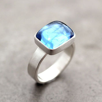 Swiss Blue Topaz Ring Aqua Blue Recycled Argentium by TheSlyFox