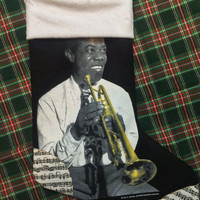 LOUIE ARMSTRONG - Upcycled Rock Band T-shirt Christmas Stocking - OOAk