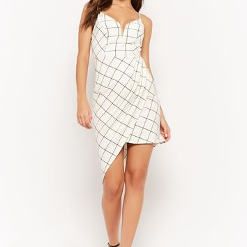 Asymmetrical V-Wire Grid Print Cami Dress