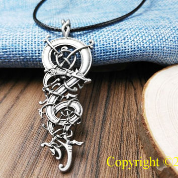 1pcs Norse Vikings Pendant Necklace Norse Charm The Ringerike Dragon Scandinavian Pendant Necklace Norse Jewelry