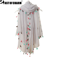 Beach Fashion 2016 New Spring Summer Pure Color Voile Scarf Women Tassel Scarf Wrap Shawl and Scarf For Women cachecol feminino