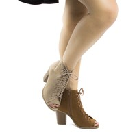 Hush By Soda, Peep Toe Lace Up High Block Heel Ankle Booties