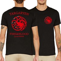 House Targaryen Fire&Blood Game of Thrones men fashion 2017 fitness tees