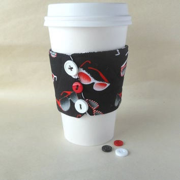 Coffee cup sleeve, Retro Sunglasses cozy, Summer fun beverage koozie, Insulated