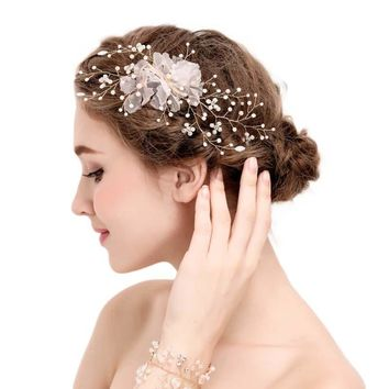 Gold Tiara Flower Imitation Pearl Decoration For Hair Rhinestone Bridal Wedding Hair Barrette Accessories Head  SL