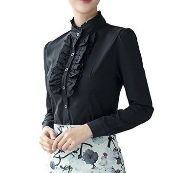 Dreamstar Women Frilly Stand Collar Victorian Ruffle Chiffon Career OL Slim Blouse Shirt