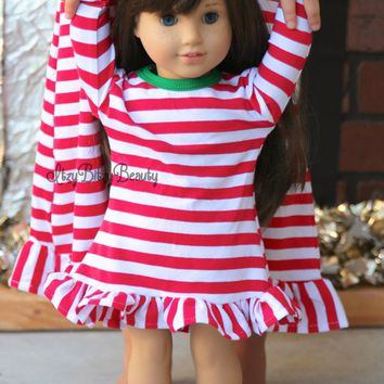 "Matching Girl And Doll Christmas dress;Dollie And Me;Christmas nightgown;Christmas Eve Box;Matching 18"" Girl Doll Clothes"