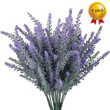 GTIDEA Artificial Flowers Flocked Plastic Lavender Bundle Fake Plants Wedding Bridle Bouquet Indoor Outdoor Home Kitchen Office Table Centerpieces Arrangements Christmas Decor 4pcs