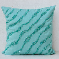 Throw Pillows - Sea waves teal silk sequin bead detail cushion - sequin bead pillow - 18X18 teal pillow - gift pillow