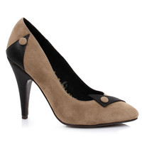 Nude & Black Microsuede Spencer Button Pumps