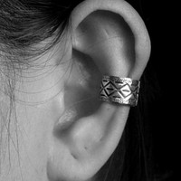 925 Sterling Silver Boho Ear Cuffs - Aztec Pattern Design - Cartilage Ear Cuffs - Non pierced ear cuff - Oxidized Ear Cuff - Gift for her