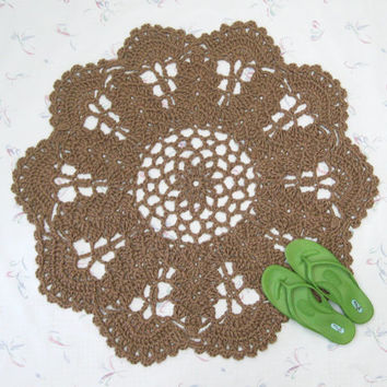 Natural Jute Rug - Round Doily Rug - Flower Rug - Mandala - Floor Mat - Area Rug - Natural Fiber - Burlap - Rustic Decor - Vegan Home