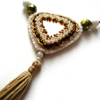 Perfect day necklace - felt jewelry with bead embroidery