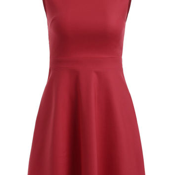 Chic Cut Out Back Sleeveless Fit and Flare Dress