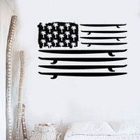 Vinyl Wall Decal Surfing Surfboard Flag Palms Ocean Surf Stickers Unique Gift (ig3790)