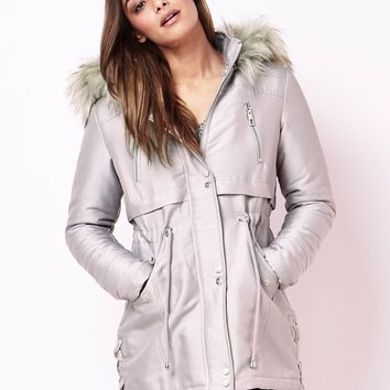 Lipsy Lace Up Parka