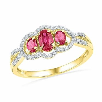 10kt Yellow Gold Women's Oval Lab-Created Ruby 3-stone Diamond Frame Ring 7/8 Cttw - FREE Shipping (US/CAN)