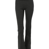 LE3NO Womens Stretchy Fold Over Waist Full Length Yoga Pants (CLEARANCE)