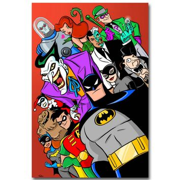 The Animated Series Superheroes Comic Art Silk Poster Print 13x20 24x36 inch Harley Quinn Joker Picture for Room Wall Decor 017