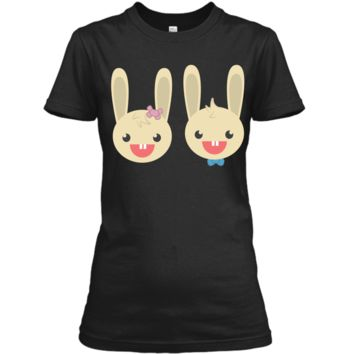 Cute Rabbit Bunny Couple Valentines Day Easter Shirt Ladies Custom