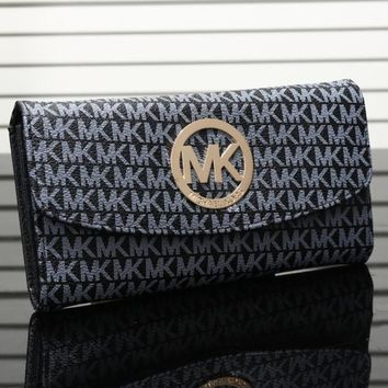 """Michael Kors"" Women MK Purse Fashion Metal Big Logo Letter Button Long Section Three Fold Wallet"
