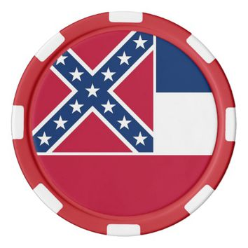 Patriotic poker chips with Flag Of Mississippi