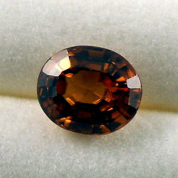 Zircon: 3.35ct Cognac Oval Shape Gemstone, Natural Hand Made Faceted Gem, Loose Precious Mineral, OOAK Cut Crystal AAA Jewelry Supply 20283