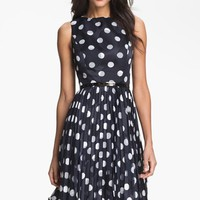 Women's Adrianna Papell Burnout Polka Dot Fit & Flare Dress,