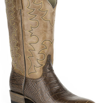 Roper Mens Faux Exotic On Leather R Toe Boots Faux Brown Alligator Tan Shaft