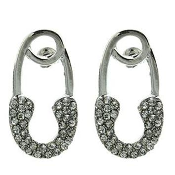 Safety Pin Pave Crystal Stone Post Pin Earrings